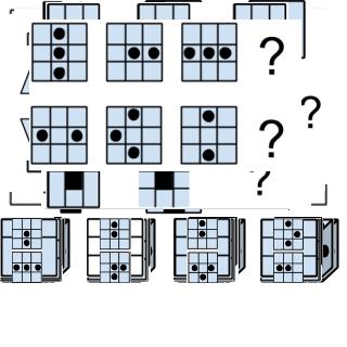 Ersetze die Fragezeichen durch die passenden Figuren.