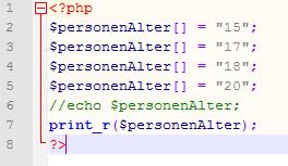 Einfache Arrays mit print_r: Wie lautet die Ausgabe?
