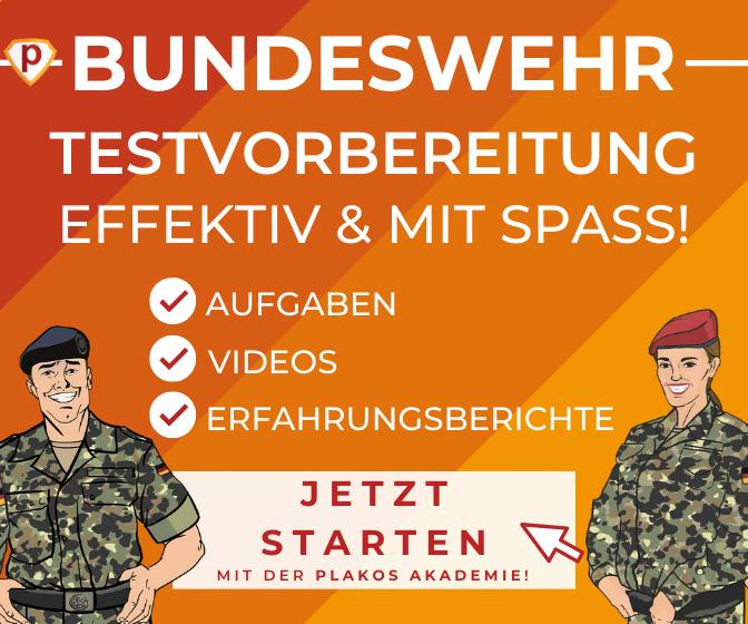 Effektive Bundeswehr Testvorbereitung mit Aufgaben, Videos und Erfahrungsberichten. Jetzt starten mit der Plakos Akademie!